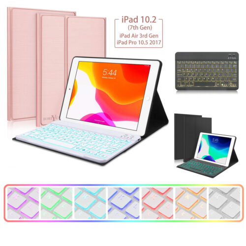 """AU For iPad 7th Gen 10.2"""" 2019 Backlit Bluetooth Keyboard Stand Cover Smart Case"""