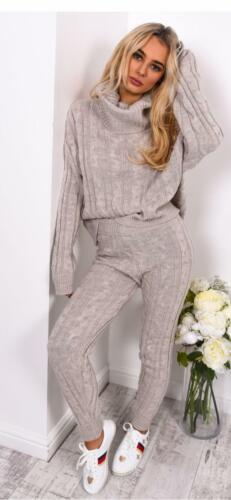 New Top Leggings Suit Set Womens Chunky Knitted Loungewear Ladies Polo High Neck