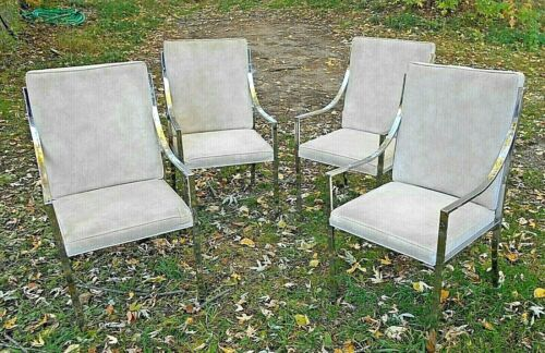 SET OF 4 MID CENTURY MODERN CURVED ARM CHROME AND FABRIC CHAIRS
