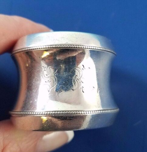 Victorian Silver  Napkin Ring with Bead Design      #2633