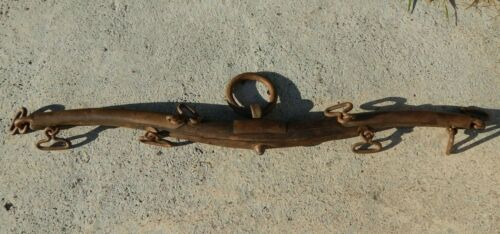 Antique Yoke Primitive RARE Hand Crafted Ox Wood Metal 8 Chain Links