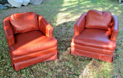 PAIR OF MID CENTURY MODERN FAUX LEATHER BARREL BACK TUB CHAIRS