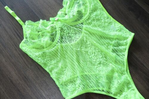 Sexy Neon Yellow Green Lace Bodysuit Teddy Plus Size 8-22 Lingerie One Piece