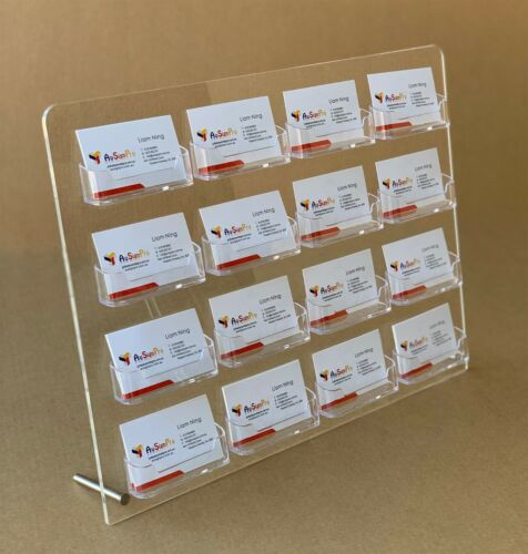 Business Card Holder-16 Pocket Superior Clear Desktop Perspex Card Stand
