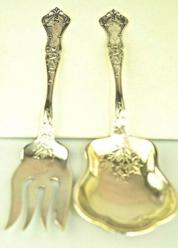 """ANTIQUE STERLING SILVER SIMPSON HALL MILLER EDGEWOOD 8.75"""" SALAD SERVERS A MONO"""