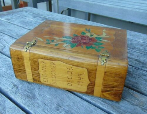Christmas Box Dedicated 25 Dec 1949 - Bench Made Wood, Stained, Painted, Carved