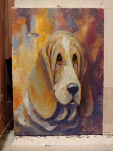 ORiginAL Oil Painting~Basset Hound-Dog~Portrait~Hand Painted~one of a kind---art