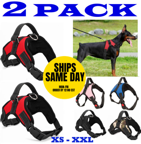 2-PACK Dog Pet Vest Harness Strap Adjustable Nylon Small Medium Large XL No Pull <br/> 4PAWSPETS✔100% FEEDBACK✔AMERICAN OWNED SMALL BUSINESS