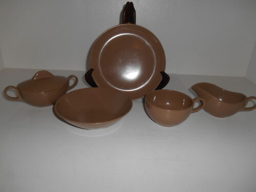 27pc Brown Melamine Dinnerware Set Plates Bowls Cups Creamer Lidded Sugar Bowl