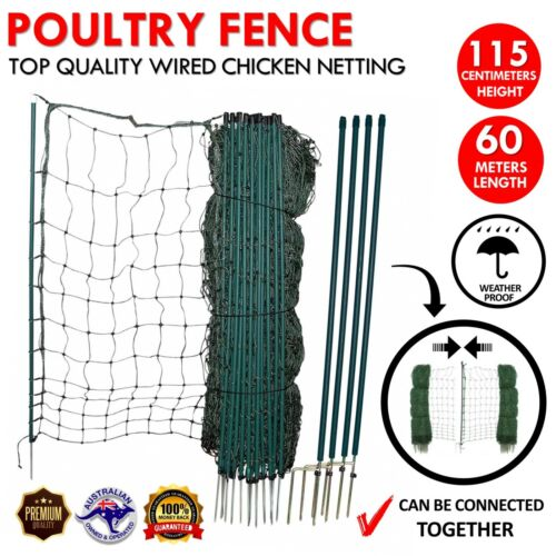 POULTRY NETTING Quality Net European Made Chicken Electric Fence 60m X 115cm