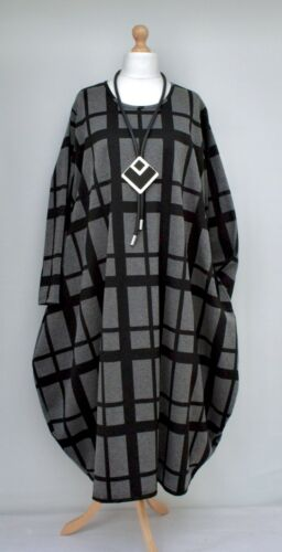 """PLUS SIZE CHECK JERSEY BALLOON VERY LONG DRESS**BLACK/GREY**BUST UP TO 58"""" XXL"""