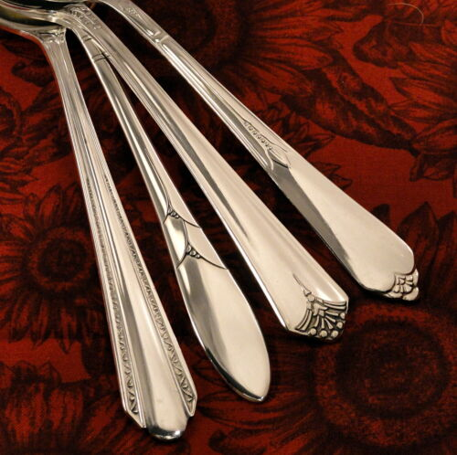 4 Assorted Mismatched Art Deco Gumbo Round Soup Spoons Vintage Silverplate Set I