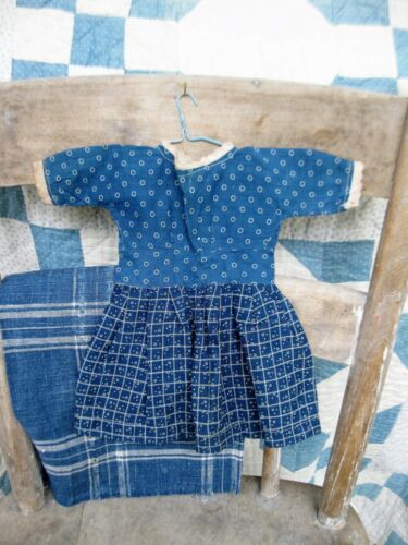 Antique Doll Dress Blue Calico Treadle Machine Sewn Free Shipping