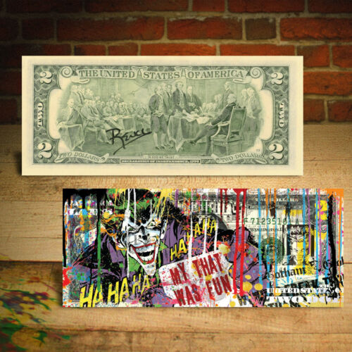 JOKER DC Comics Movie Genuine Legal Tender $2 U.S. Bill HAND-SIGNED by Rency