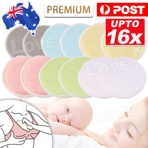 Bamboo Reusable Breast Pads Nursing Breastfeeding Plain Washable Pack of 8/16pcs