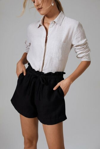 NWT $ 90 Designer COUNTRY ROAD French Linen Paperbag Linen SHORTS Black Navy S M