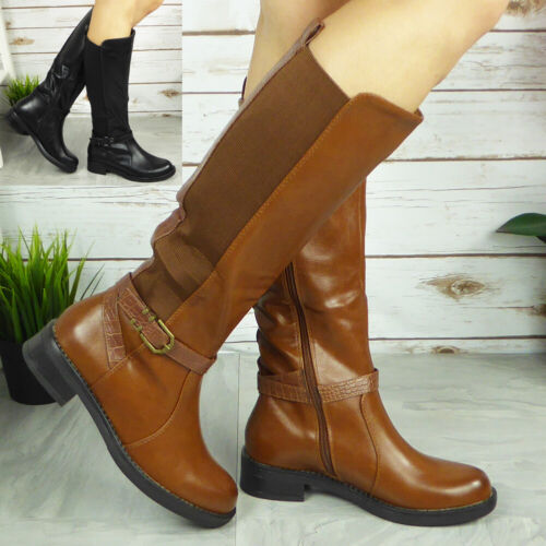 Womens Wide Calf Boots Ladies Winter Gusset Heel Fashion Comfy Casual Shoes Size
