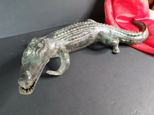 Old Bronze / Brass Cast Crocodile …beautiful collection and display piece