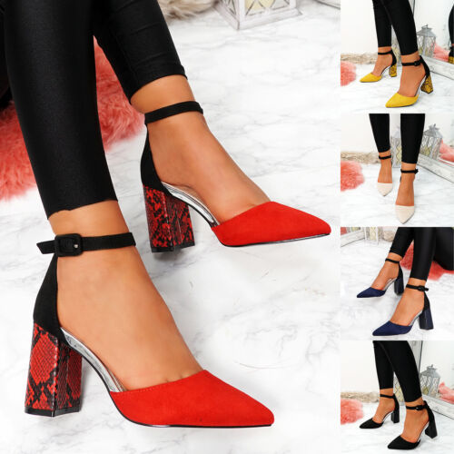 WOMENS LADIES ANKLE STRAP SNAKE SKIN BLOCK HEEL POINTED TOE PARTY SHOES SIZE
