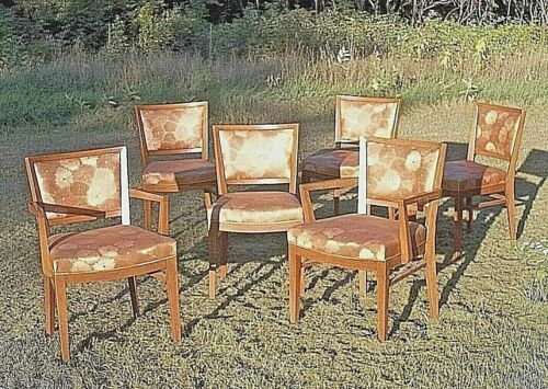 SET OF 6 EARLY 20th CENTURY FRENCH ART DECO PICKLED OAK CHAIRS-2 ARM+4 SIDE