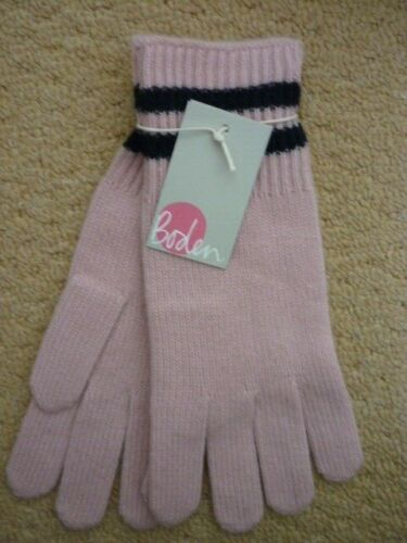 BODEN CASHMERE KNITTED GLOVES CHALKY PINK/ NAVY BLUE STRIPE. ONE SIZE BNWT.