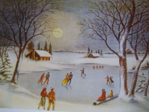 Ice Skating Beautiful Winter Scene from long ago vintage art