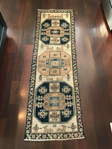 "Vintage Turkish Persian Pictorial Wool Rug Runner -81""x 25"""