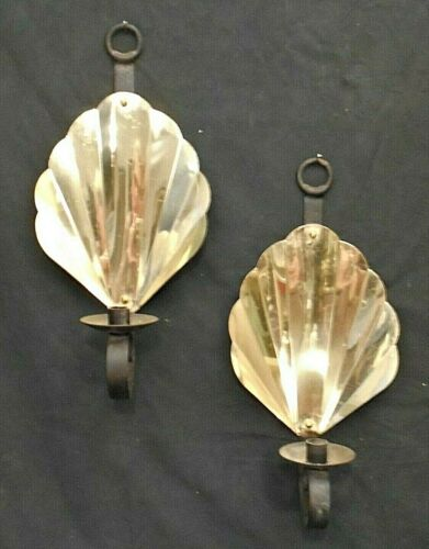 PAIR MID CENTURY MODERN BRASS SHELL BACK CANDLE SCONCES