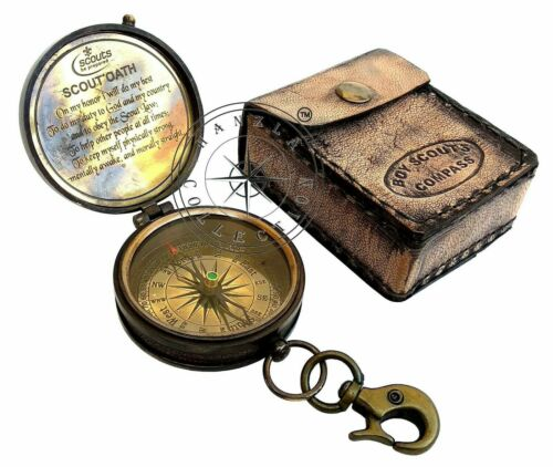 Vintage Boy Scouts Poem Maritime Engraved Brass Compass With Leather Pocket Case