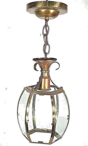 MID CENTURY MODERN  HANGING 6 SIDED CURVED GLASS BRASS HALL LIGHT
