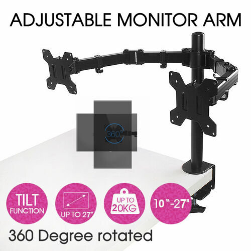 Dual HD LCD Screen TV Holderp LED Desk Mount Monitor Stand 2 Arm Display Bracket