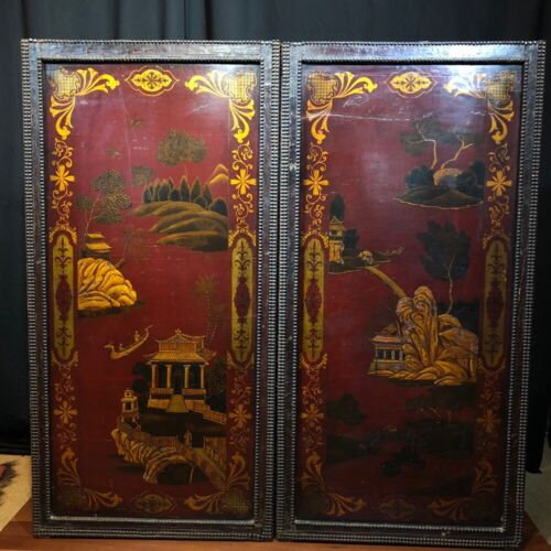 Pair of Chinoiserie red lacquer panels, 19th century
