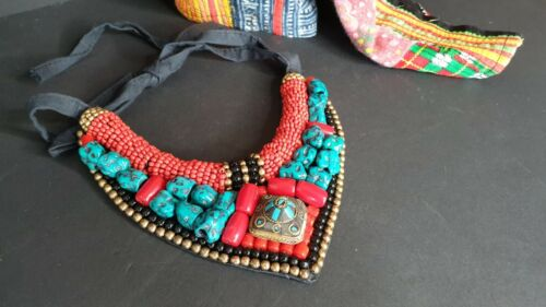 Old Tibetan Necklace Collar with Assorted Local Stones & Beads   …beautiful coll
