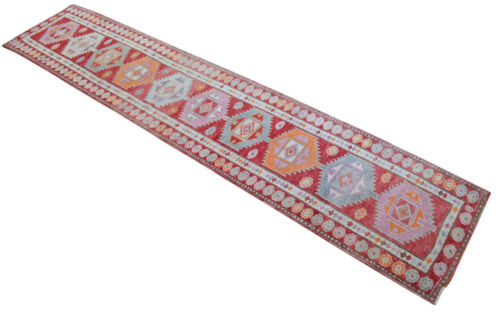 3x13 Rug Runner Kurdish Rug Hand Knotted Low Pile Long Runner Actual 2.9x12.10ft