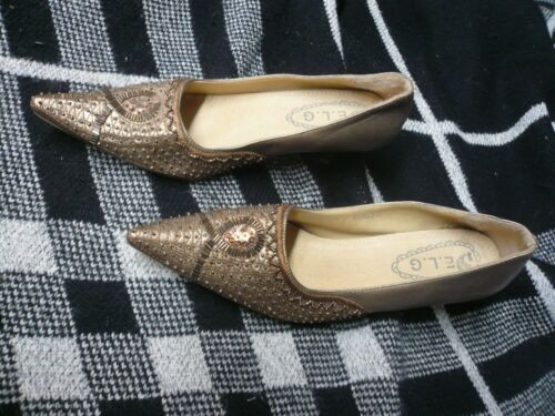 ladies Bronze beaded shoe size 7 / 41 pointed toe bought in Spain