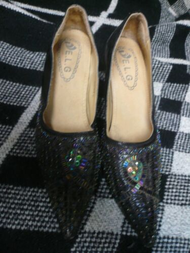 ladies Blackberry beaded shoe size 7 / 41 pointed toe bought in Spain