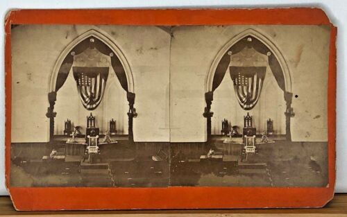 Stereoview Funeral with unknown identity - American Flag