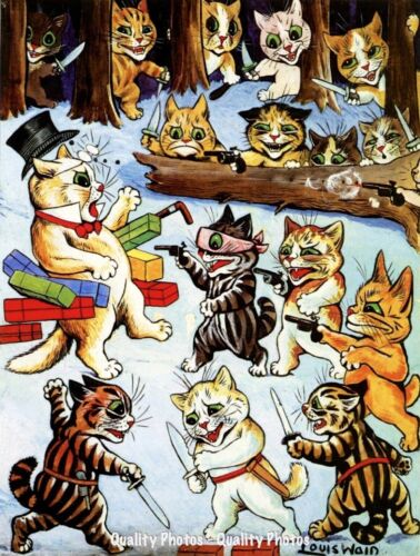 """Cat Robbers In Forest 8.5x11"""" Photo Print Louis Wain Animal Funny Feline Art"""