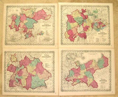 4 Antique Engraved Maps of Germany: Including Prussia: Colton: 1855-1859