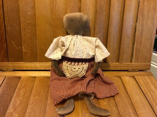 Primitive  Doll- 14 inch - penciled face - barn red dress- apron