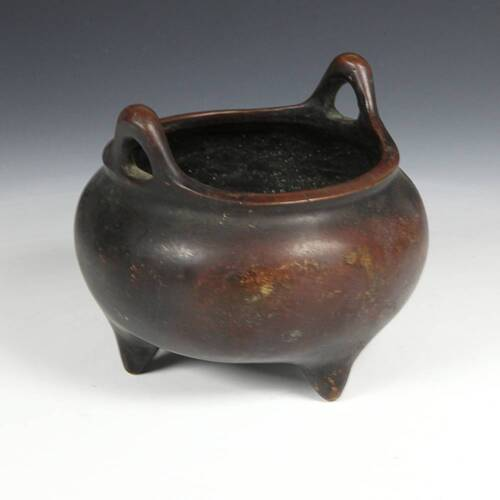 ANTIQUE CHINESE RED COPPER WITH GOLD LU CENSER INCENSE BURNER CHINA 19TH C.