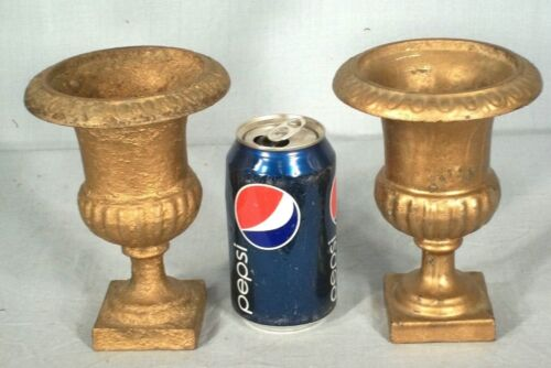 PAIR OF 19th- 20th CENTURY MINIATURE CAST IRON URNS ON A SQUARE PLATFORM BASE