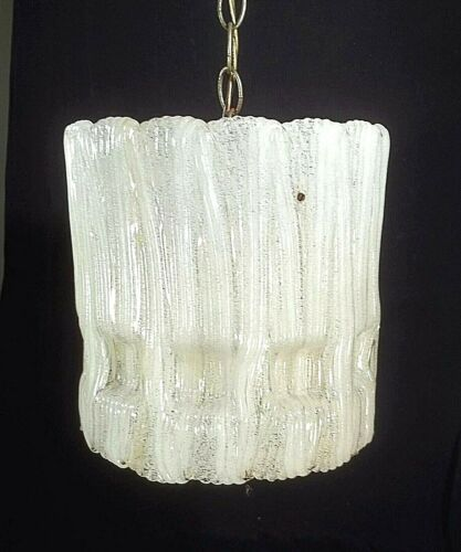 MID CENTURY MODERN FROZEN WATERFALL ICICLE LUCITE HANGING LIGHT