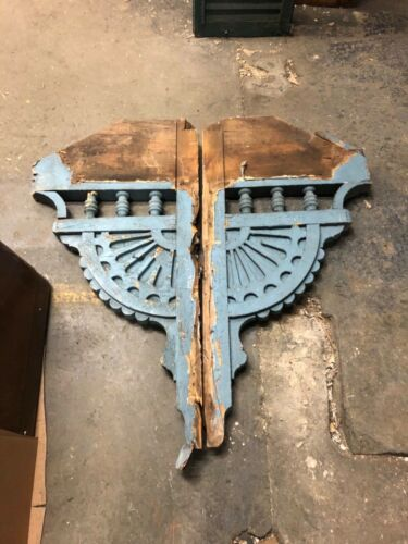 "pair vintage Victorian age corbel porch brackets 1878 44"" x 22"" x 2.5"" old blue"