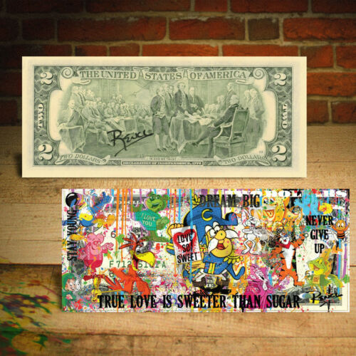 Famous Iconic CEREAL Characters $2 US Bill Pop Art HAND-SIGNED by Rency / Banksy