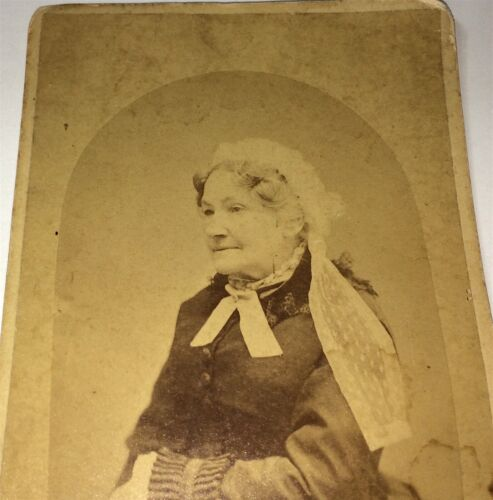 Rare Antique Victorian American ID'd Old Woman, Port Jervis, NY Cabinet Photo!