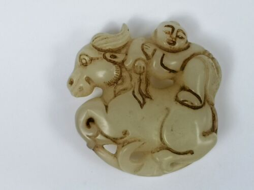 Collection China Jade Hand Carving Boy Ride ox Statue Pendant Netsuke Decoration