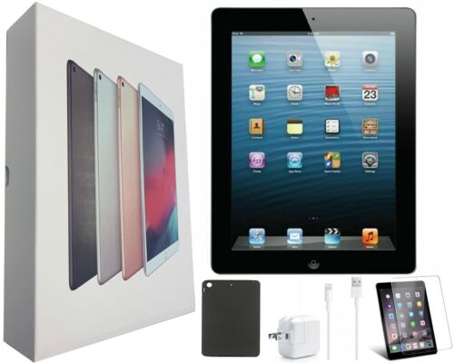 Apple iPad 2 16GB Black 9.7-in (Wi-Fi Only) Bundle Includes Case, Tempered Glass