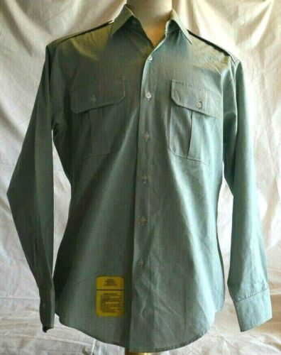 US Man's Shirt Long Sleeve Polyester/Cotton Army Green 415 size 16 x 34/35Original Period Items - 13983
