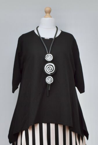 "STUNNING LINEN BLEND A-LINE LONG TUNIC*BLACK*""AKH GERMANY""BUST UP TO 52"" XL-XXL"